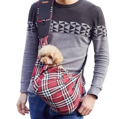 Pet Carrier Checked Sling Bag Pet Carrier Aslant Bag for Outdoors Hiking Camping Shopping