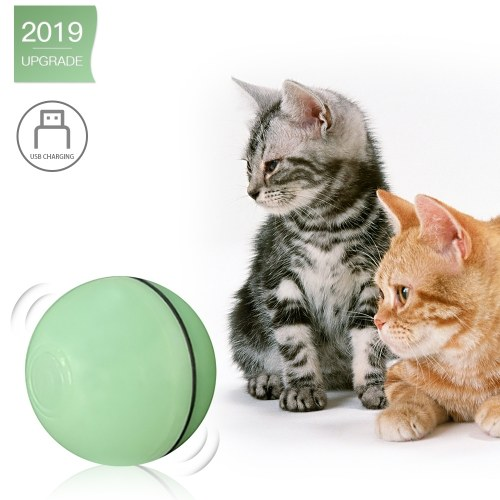 Electric Interactive Cat Toy Ball Rolling Ball for Kitten Cats Exercise Chase LED Light  USB Rechargeable Steering Automatically
