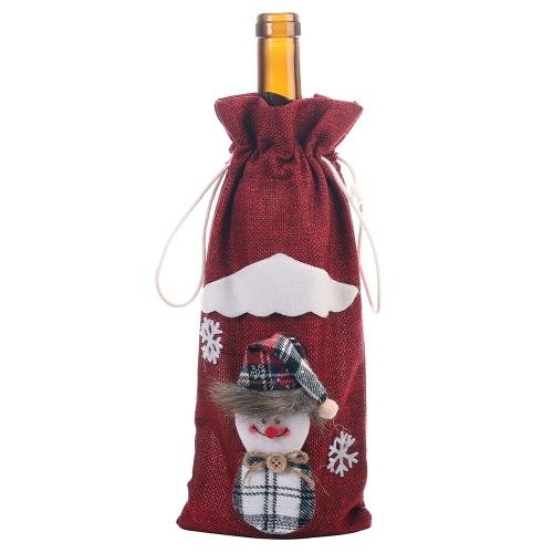 Bolsa de botella de vino de Navidad Papá Noel Muñeco de nieve Tapa de botella de vino Decoraciones de regalo de Navidad Suministros