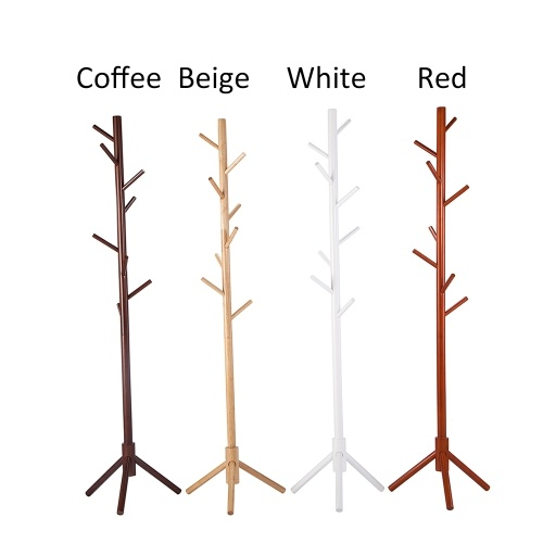 Rubberwood Wooden Floor Standing Clothes Hat Hall Tree Free Standing Hallstand Hatstand Hat Rack Coat Stand Holder with 8 Hooks