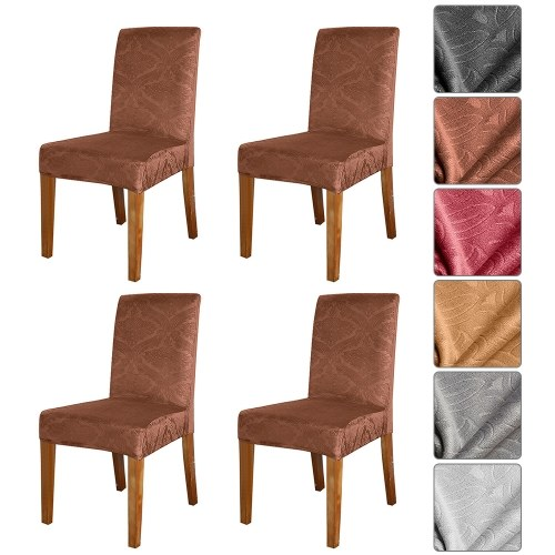 Silver Fox Solid Color Embossed Chair Cover Stretch Chair Protector Non-slip Removable Washable for Dining Chair Hotel 4pcs Brown