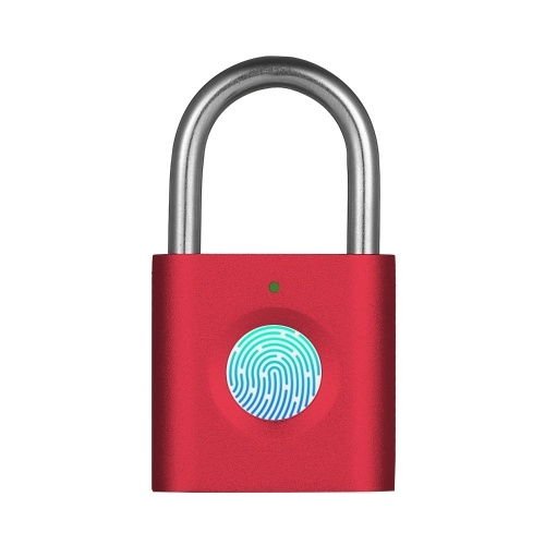 Smart Fingerprint Padlock High Security 20-Users Supported Long Battery Life Locker Cabinet Diary Luggage Lock with Built-in 60mAh Rechargeable Battery USB Cable