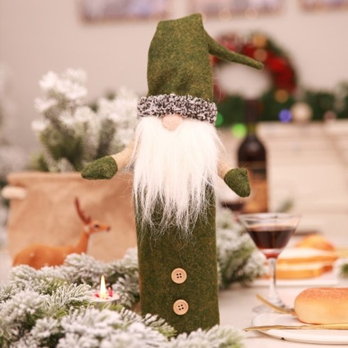 Copri bottiglia di vino di Natale Copri portabottiglie di champagne modello Babbo Natale