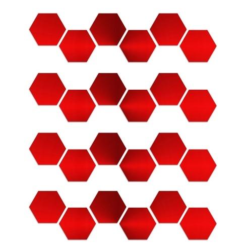 24PCS Hexagon Mirror Wall Stickers