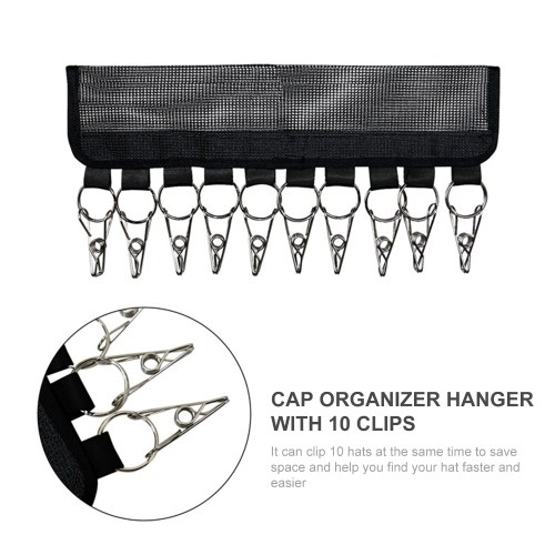 Cap Organizer Hanger with 10 Clips Hat Holder Hat Organizer Baseball Cap Storage Rack for Hat Classification Clothes Drying Rack