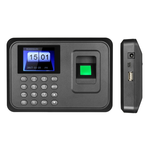 "2.4 ""TFT LCD Display USB biométrique machine d'assistance d'empreintes digitales DC 5V / 1A Time Clock enregistreur lecteur d'enregistrement des employés version espagnole"