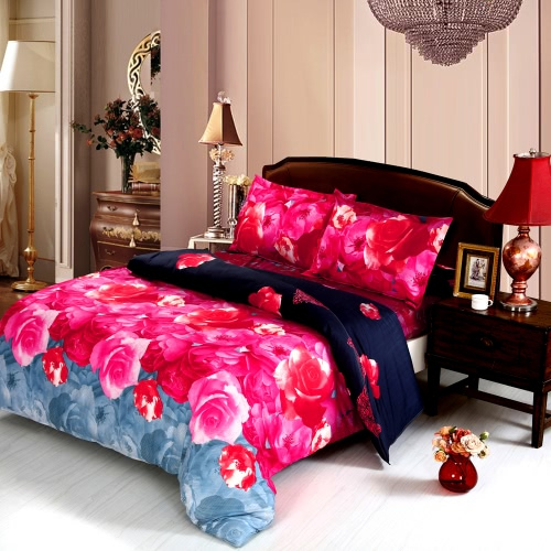 4pcs 3D Printed Bedding Set Bedclothes Chinese Rose Queen Size Duvet Cover+Bed Sheet+2 Pillowcases