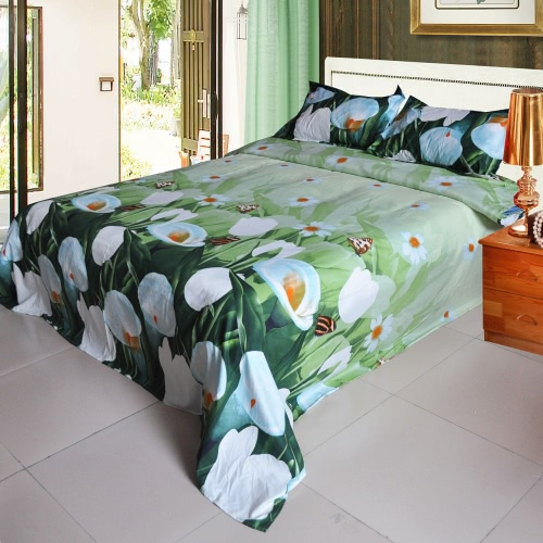 4pcs 3D Printed Bedding Set Bedclothes White Tulip on Green Background Queen/King Size Duvet Cover+Bed Sheet+2 Pillowcases