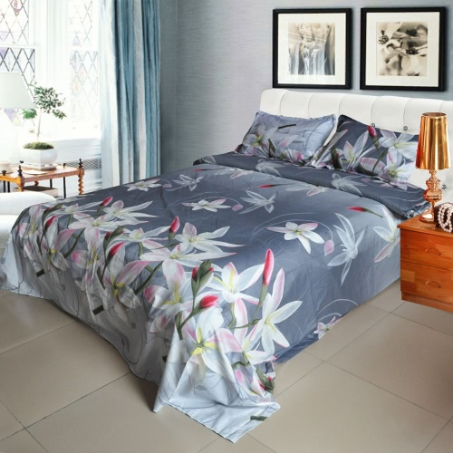 4pcs 3D Printed Bedding Set Bedclothes White Lily on Light Black Background  Queen/King Size Duvet Cover+Bed Sheet+2 Pillowcases