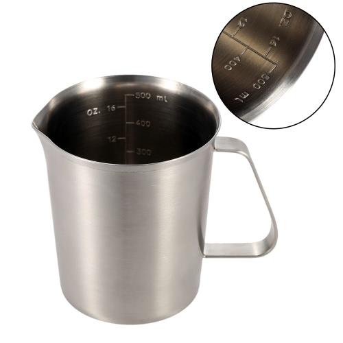 500ML Stainless Steel Milk Pitcher Jug Milk Foam Container Measuring Cup Coffee Kitchen Tool