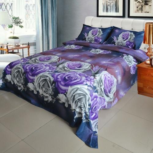 Фиолетовый цветок розы Pattern 4шт 3D Печатный комплект постельных принадлежностей Постельные принадлежности Домашний текстиль Queen Size Одеяло Обложка Простыня 2 наволочки