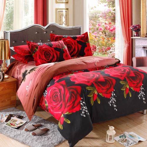 Красная Роза шаблон 4шт 3D Печатный комплект постельных принадлежностей Постельные принадлежности Домашний текстиль Queen Size Одеяло Обложка Простыня 2 наволочки