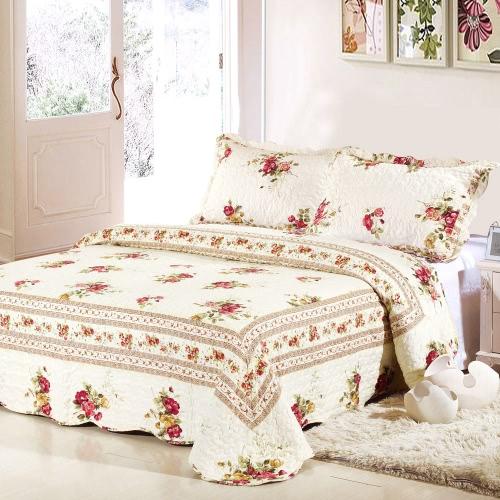 Постельные принадлежности 3шт набор 230 * 230 см цветок кедера набивным рисунком полиэфирного волокна лоскутное одеяло одеяло подушка случаях постельное белье, домашний текстиль