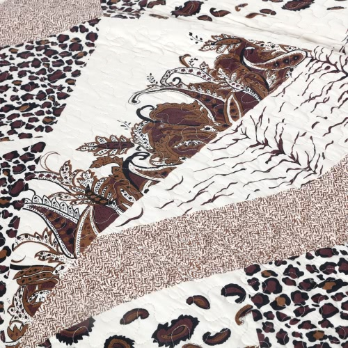 3pcs Bedding Set 230 * 230 CM Leopard stampato Pattern poliestere fibra Patchwork Quilt trapunta cuscino casi biancheria Home Textiles