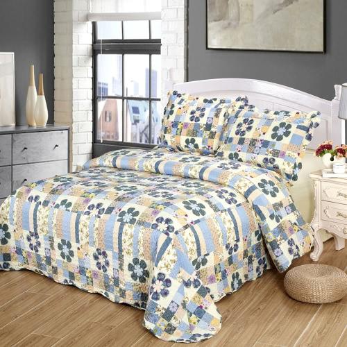 3Pcs Bedding Set 230 * 230 CM  Printed Flower Plant Cording Pattern Polyester Fiber Patchwork Quilt Comforter Pillow Cases Bedclothes Home Textiles