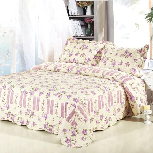 3pcs постельных набор 230 * 230 см фиолетовая роза цветок печатных шаблон полиэстер волокна лоскутное одеяло одеяло подушку случаях постельное белье домашний текстиль