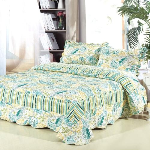 3шт постельные принадлежности набор 230 * 230 см печатных цветочные растения Лапка шаблон полиэстер волокна лоскутное одеяло одеяло подушку случаях постельное белье домашний текстиль