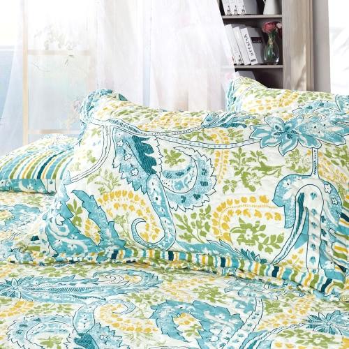 3pcs Bedding Set 230 * 230 CM stampato fiore pianta Cording Pattern poliestere fibra Patchwork Quilt trapunta cuscino casi biancheria Home Textiles