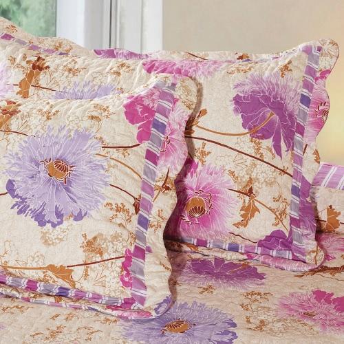 3pcs biancheria da letto Set 230 * 230 CM stampato viola fiore Pattern poliestere fibra Patchwork Quilt trapunta cuscino casi lenzuola Home Textiles