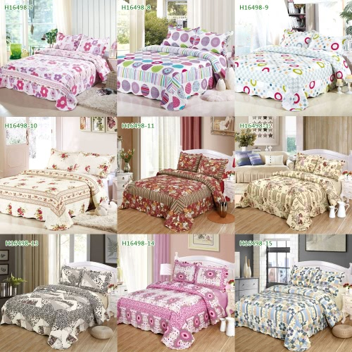 3pcs Bedding Set 230 * 230 CM fiore floreale stampato Pattern poliestere fibra Patchwork Quilt trapunta cuscino casi biancheria Home Textiles
