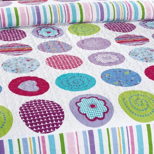 3pcs Set da letto 230 * 230 CM controllato rotondo stampato Pattern poliestere fibra Patchwork Quilt trapunta cuscino casi lenzuola Home Textiles