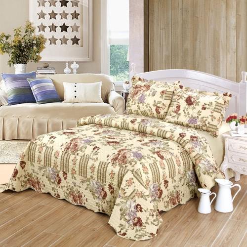3Pcs Bedding Set 230 * 260 CM Checked Flower Printed Pattern Polyester Fiber Patchwork Quilt Comforter Pillow Cases Bedclothes Home Textiles