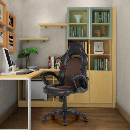 iKayaa PU de la manera que compite con de cuero Silla de oficina Executive Style ajustable 360 ° giratorio con respaldo alto Equipo Tarea silla de escritorio de diseño asiento de cubo