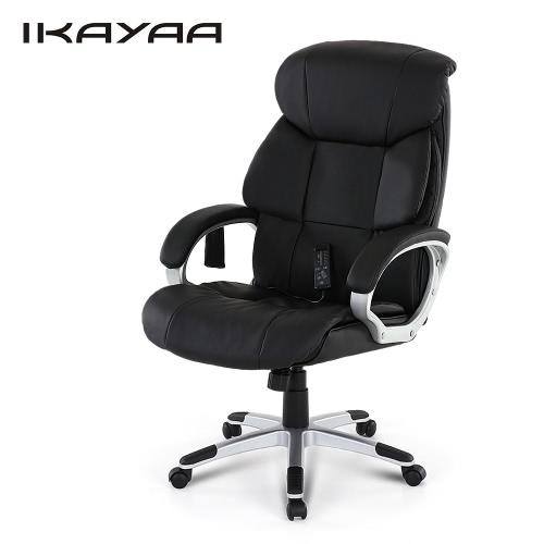 iKayaa現代の高品質PUレザーエグゼクティブオフィス振動マッサージチェア調節可能な360°のスイベルコンピュータタスクチェア8モードマッサージW /チルトロック