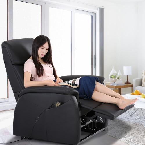 iKayaa Современный комфортабельный питания Лифт реклайнер проложенный Высококачественная кожа Bounded Lift одноместное кресло диван с контроллером для пожилых людей Гостиная Спальня