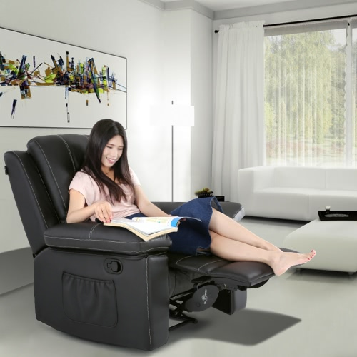iKayaa Эргономичный Удобные проложенные Массаж Recliner Lounge Bounded Кожа высокого качества планер Кресло Кресло 8 вибрационный режимы 130kg Емкость нагрузки