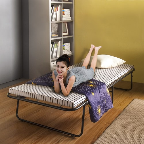 iKayaa Portable Single Folding Guest Bed Cot with Mattress & Cover Metal Frame 110kg Capacity