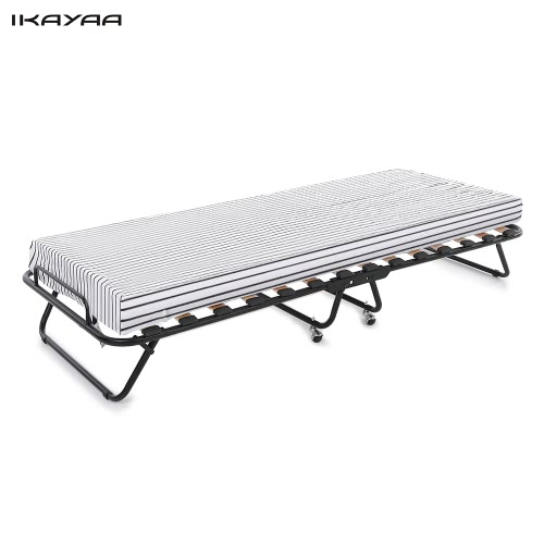 iKayaa Metal+Wood Rollaway Single Folding 110kg Capacity Guest Bed Cot