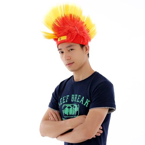 Anself Spanien Flag Football Soccer Fans Perücke Hahnenkamm Europacup FIFA World Cup Sport Karneval Festival Cosplay Kostüm