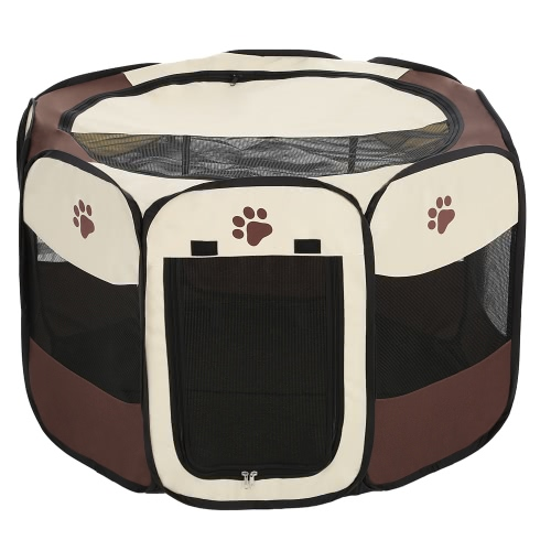 Portable Folding Indoor Outdoor Pet Puppy Dog Cat Play Pen Tent Pop-up Fabric Zipped Pet Rabbit Pig Exercise Pen Playpen Fence