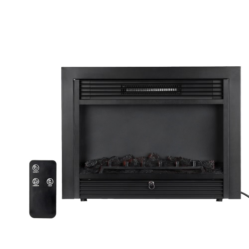 Decdeal Embedded Electric Fireplace Adjustable LED Flame with Remote, 1500W Heater, 28.7