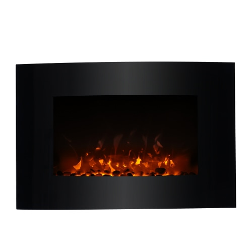 Decdeal Wall Mount Electric Fireplace 3D Flame Heater with Remote Control Adjustable Heat Setting 1500W, 35