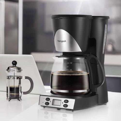 Homgeek High-End 1.5L Kaffeemaschine 12 Tassen Programmierbare Kaffeemaschine Kaffeemaschine mit Karaffe & Coffee Dosierlöffel