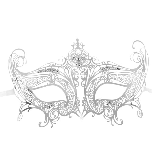 Festnight Romantic Silver Laser Cut Metal Half Mask with Rhinestones Masquerade Ball Halloween Mask Fancy Gift