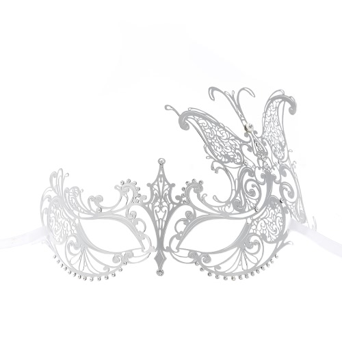 Festnight Luxury Butterfly Design Silver Laser Cut Metal Half Mask with Rhinestones Masquerade Ball Halloween Mask
