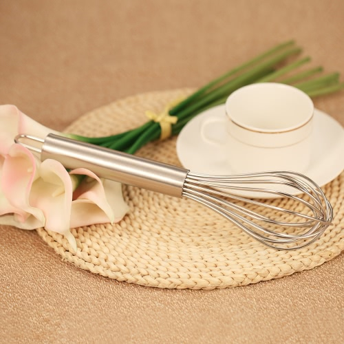 Stainless Steel Kitchen Egg Whisk Eggs Frother Rotary Milk Egg Beater Blender Mixer Kitchen Cooking Tool