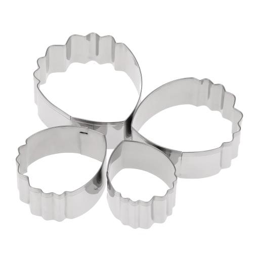4pcs Edelstahl-Backen-Kuchen verziert Fondant-Werkzeuge 3D Schöne Petal / Gummi-Pasten-Form-Pfingstrose Blütenblätter Teardrop-geformter Plätzchen-Schneider