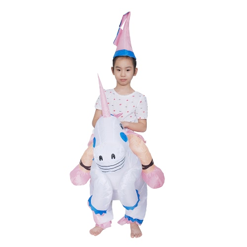 Anself Mignon Enfants gonflable Costume Unicorn Costume Blow Up Fancy Dress Party Festival Belle gonflable Pegasus Outfit Jumpsuit Cheval gonflable Costume d'animal pour les enfants
