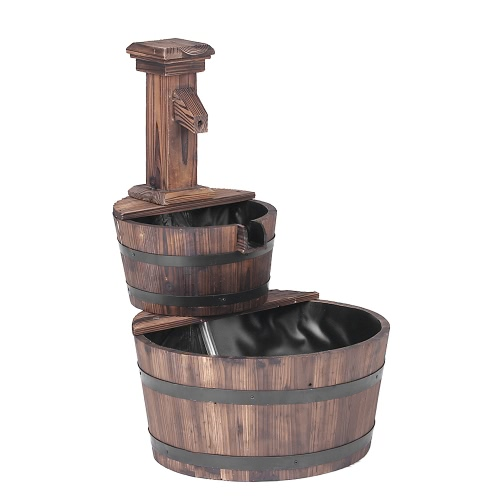 iKayaa 3 Tier Wood Barrel Outdoor Water Fountain W/ Pump Leak-Proof Cascading Water Feature Garden Patio Decoration