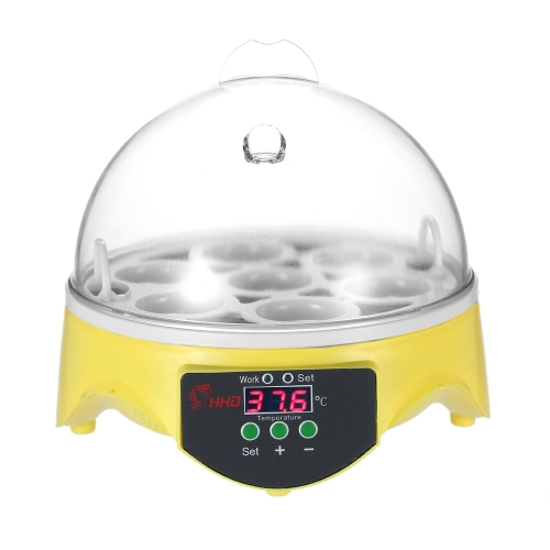 Decdeal 7 Eggs Mini Digital Egg Incubator Hatcher Transparent Eggs Hatching Machine Automatic Temperature Control for Chicken Duck Bird Eggs AC110V