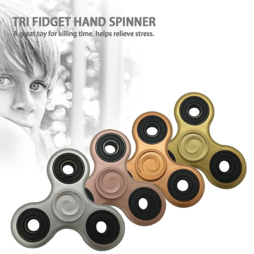 ABS Tri Fidget Hand Finger Spinner Spin Widget Focus Toy EDC Pocket Desktoy Triangle Plastic Gift for ADHD Children Adults Relieve Stress Anxiety Boredom Killing Time High Quality Hybrid Ceramic Bearing