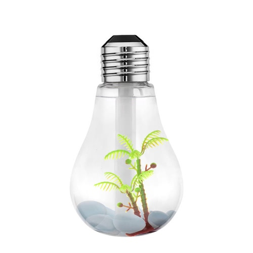 400ml Colorful Landscape LED Night Light Bulb USB Mini Humidifier Micro Spray Hydrating Household Desktop Cool Mist Maker Sprayer Ultrasonic Home Office 7 Color