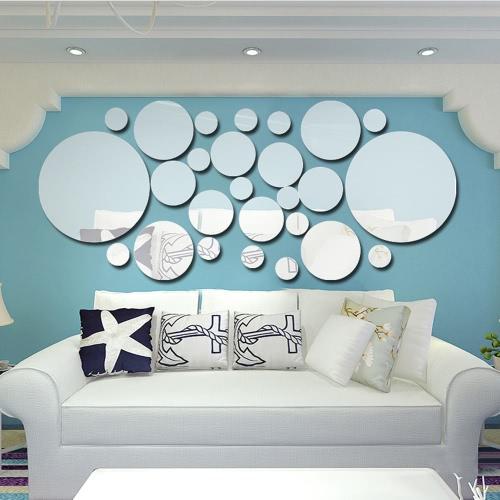 26pcs / set Acrylic Polka Dot Wall espelho adesivos quarto quarto cozinha banheiro Stick Decal Home Party decoração Decor Art Mural Stickers DIY decalques Art Decal Decoração do quarto