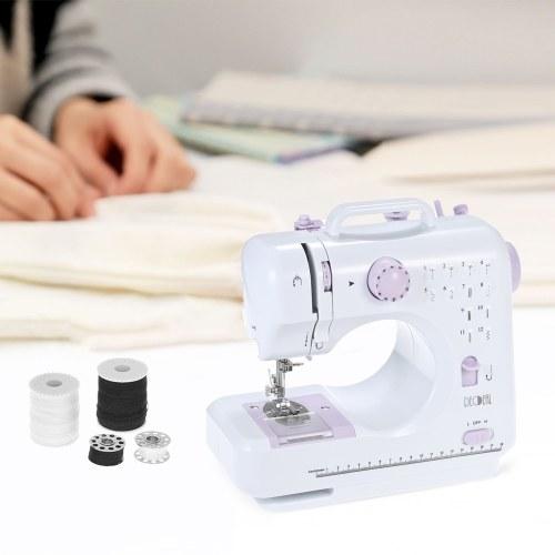 Auto máquina de coser multifuncional de electrodomésticos Velocidad ajustable pie reemplazable con pedal Luz LED 12 Patrones de puntada incorporada AC100-240V