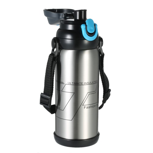 800ml Large Capacity Stainless Steel Double-wall Vacuum Insulated Water Bottle High Quality Wide Mouth Warm Keeping Water Bottle with 2 Lids Heat & Cold Preservation Bottle Travel & To-Go Water Bottle