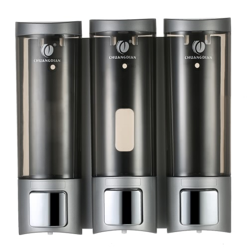 CHUANGDIAN Manual Soap Dispensers Wall-mounted Three Chamber Shampoo Box Shampoo Shower Gel Liquid Soap Dispensers Rest Room Washroom Toilet Soap Dispenser & Holder 200ml*3